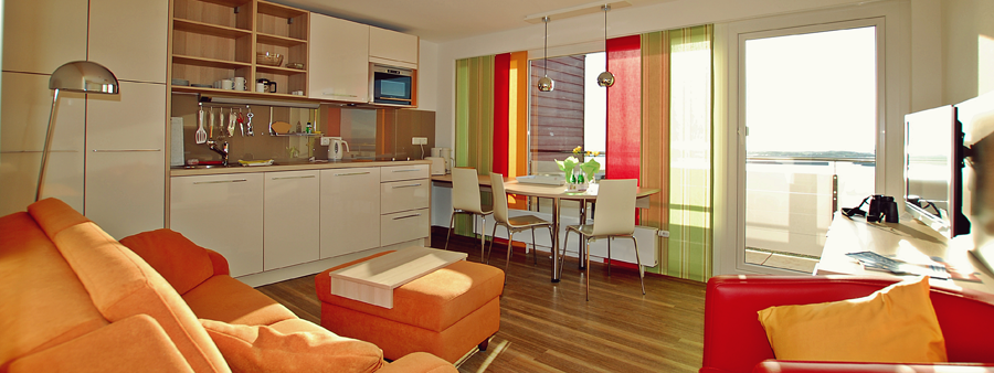 Der Wohnbereich in Appartement 2